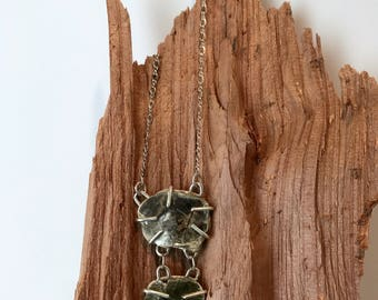 Petite Double Mica Necklace- Sterling Necklace with prong set mica