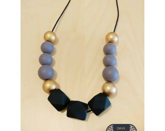 Statement Necklace //Geometric Beads // Acrilic Beads // Black Gray and Gold //