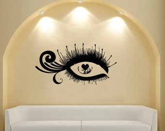 Wall Decal Window Sticker Beauty Salon Woman Face Eyelashes Lashes Eyebrows Brows t51