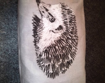 Grey Hedgehog Make Up Bag