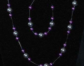 Purple and Grey Pearl Necklace and Bracelet
