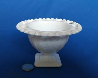 Milk Glass Compote Lorraine pattern