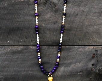 ECU Pirate Pride Tassel Necklace w/ Purple & White Beads