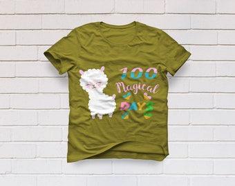 100 magical days svg, LLama svg, 100 days svg, School svg, 100 day of school svg, Kindergarten svg, SVG, DXF, eps, png, pdf, Teacher shirt