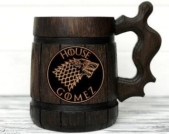House Stark Mug. Game Of Thrones Mug. GoT Gift. Game Of Thrones Beer Steins. Game of Thrones Gift. Wooden Beer Tankard. Gifts for Men #49