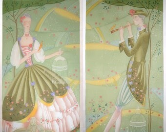 Custom Sheer Handpainted Curtains Panels with Bows Pastorale