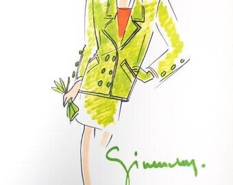 A vintage GIVENCHY fashion illustration