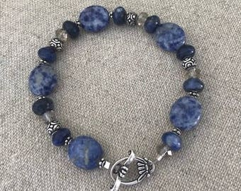 Sodalite, swarovski and sterling bracelet Blue crystal accents toggle clasp oval
