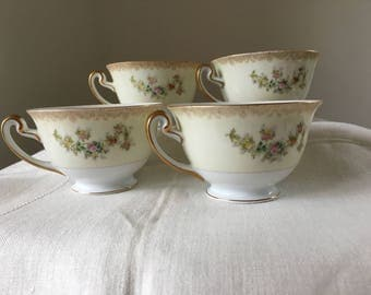 Tea Cups Set of 4, Soft Yellow with Floral Garlands, Meito China