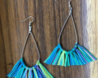 Blue and green/ tassel/ earrings