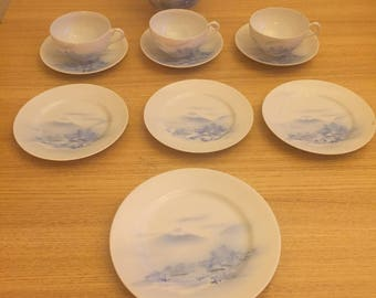 Vintage Japanese egg shell porcelain tea set