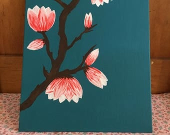 Magnolia Blossoms Acrylic Painting