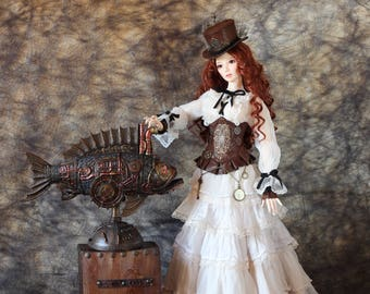 BJD FULL SET steampunk costume Unique dress Outfit Clothes Corset Long skirt 1/3 Doll Clothing YId/SdZenith Souldoll