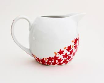 Hand Painted Milk Jug, Ceramic Creamer, Autumn Tea Party, Tea Set, Cascading Leaves, Cottage Kitchen Decor, English country kitchen gift