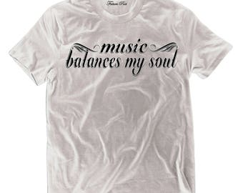 Men's White T-shirt with empowering quote (Music)