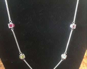 Multi-colored cz necklace