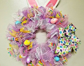 Easter bunny wreath, Spring wreath, Easter eggs, Pastel Easter wreath, Bunny ears, Pink, Purple, White, Ribbons