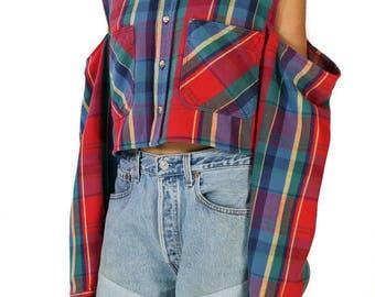 Redesigned Vintage Red Plaid Flannel Cold Shoulder Crop Top
