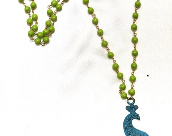 Blue peacock green bead chained necklace
