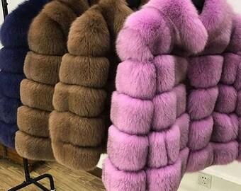 Fox fur full coat