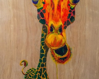 hand-painted giraffe wall-hanging art