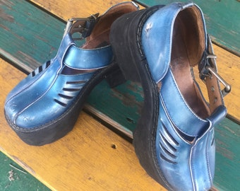 Vintage womens 1990s punk rock cosplay pop costume John Fluevog blue metallic platform Mary Jane shoes