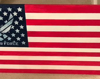 American flag with US Air Force emblem