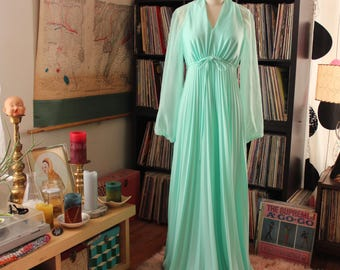 mint green 70s prom dress with sheer sleeves . 1970s maxi dress gown, womens size small medium . 70s wedding dress