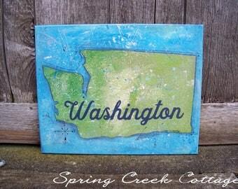 Washington State, Handpainted Canvas Art, Housewarming Gifts, Vintage, Military, Wall Hanging, Home Decor, Wall Decor, Art, Travel, Handmade