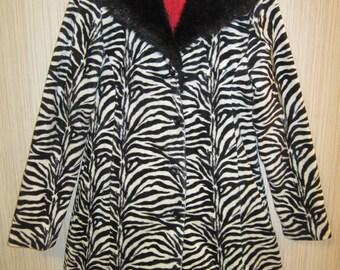 1 Playa Jacket, faux fur Coat Playawear Festival BurningMan style Vintage Lined Warm FauxFur Collar Budget Sz S FREE standard shipping USA