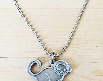 MONKEY NECKLACE monkey charm necklace, baby monkey necklace, year of the monkey chinese new year necklace, spider monkey jewelry