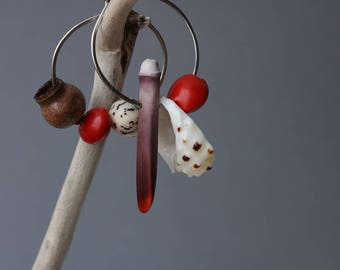 mismatched earrings with natural beads - exotic boho jewlery - colorful beaded hoops - sea urchin spine - sliced shell - red seeds