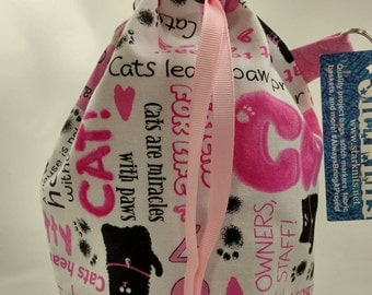Black and Pink Cat Words Medium WIP Bag