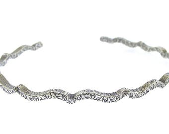 Silver Cuff with Curves, sterling silver bracelet for women, clothing gift by Kathryn Riechert