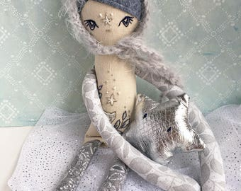 Luna Fey hand embroidered cloth doll : glow in the dark kitty cat celestial moon star bedtime fairy
