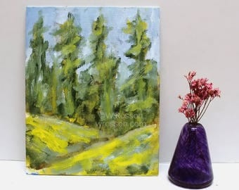 Springtime, Original landscape Painting, Trees, Yellow Hills, Original painting, Home decor, Office decor, Gift, Design, Spring, winjimir