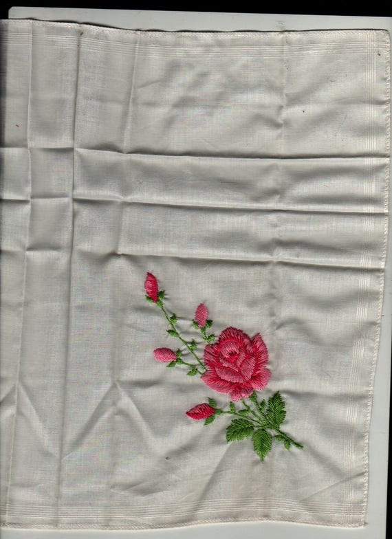 Pink Rose Embroidered Handkerchief - Vintage Linens