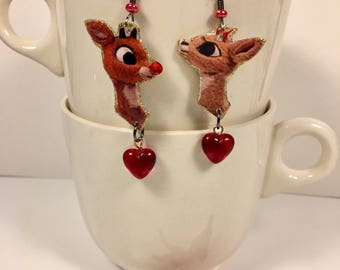 Rudolph and Clarice Earrings   Rudolph the Red Nosed Reindeer