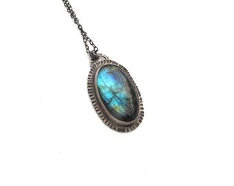 Big Oval Labradorite Pendant with Textured Sterling Silver - OOAK