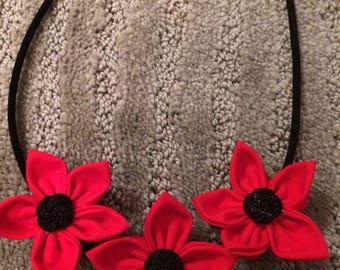 Red Black Button Fabric Flower Statement Necklace