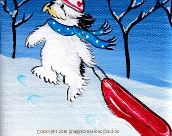 Old English Sheepdog Art Painting ~ OES Art ~ Dog Lover Gift ~The Red Sled ~ Dog Snow Painting Pet Lovers Decor Valentines Day Sledding Art
