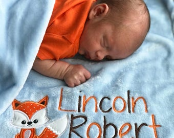 Fox Baby Blanket, Personalized Baby Blanket, Baby Boy Blanket, New Baby Gift, Baby Shower Gift, Fox Nursery