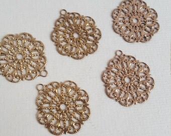 Vintage brass filigree stampings