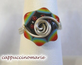 Rainbow bumps - Sterling silver wire wrap ring Size 8