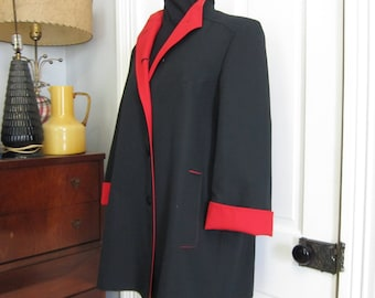 Black and red coat | Etsy