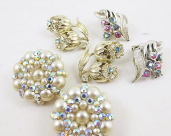Vintage Earrings Lot 3 Pairs Clip on Cluster Rhinestone Mid Century 50s 60s