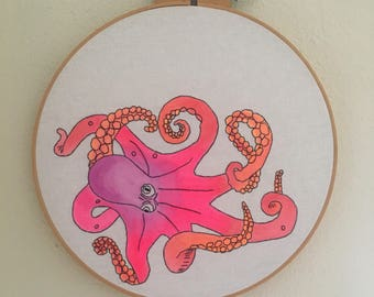 Akkorokamui- hand drawn, painted and embroidered giant octopus monster wall hanging hoop art