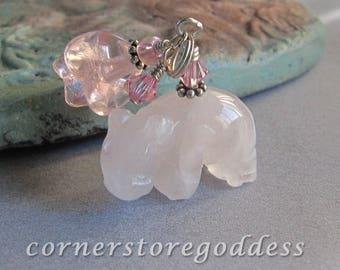 Rose Quartz Hippo Hippopotamus Charm Zipper Pull