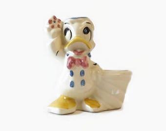 Vintage Disney Donald Duck Planter Vase, Whimsical Children's Nursery Decor, Rare White Belly