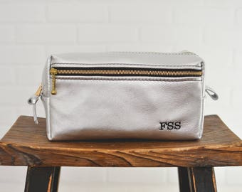 Silver Plata Leather Dopp Kit LARGE FRONT ZIP Dual zip Toiletry Bag Interior Pocket Personalized leather travel bag Gift for Woman Mom Wife